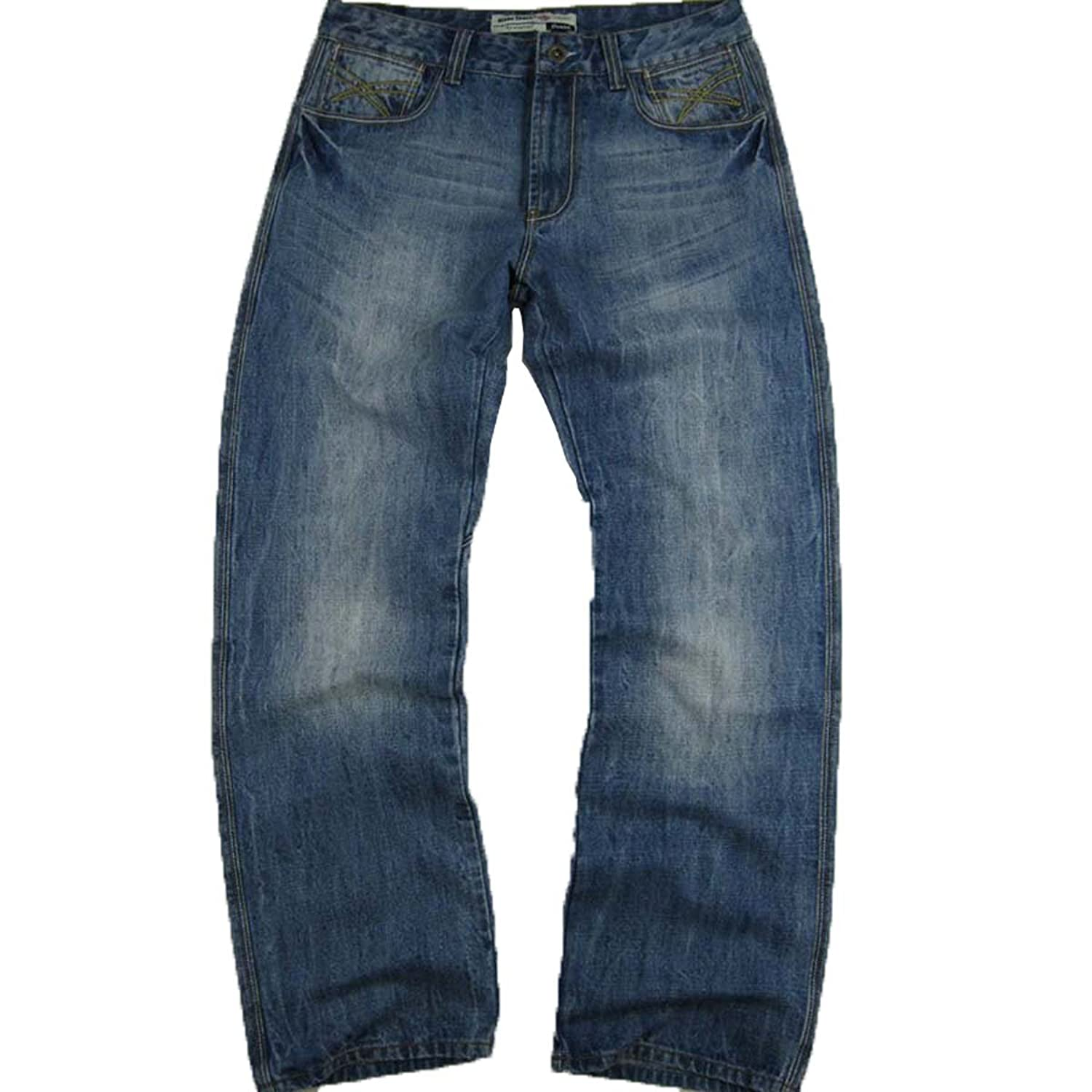 #M1402-MN016 Men's Relax Straight Leg Stylish Wash Premium Jeans Size: 32 x 34