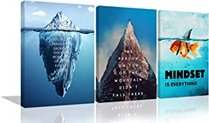 3 Pieces Motivational Wall Art Goldfish Painting Canvas Print Success Iceberg Office Decor Inspiring Framed Prints Mindset is Everything Inspirational Quotes for Wall Art Decoration Ready to Hang