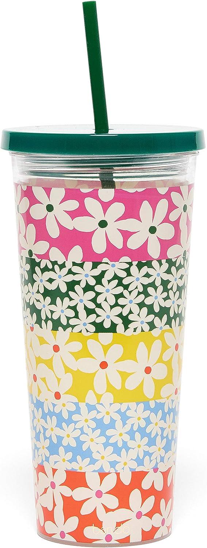 margaritas Ban.do Sip Sip Sip Vaso aislado con pajita de silicona reutilizable taza de viaje floral de 24 onzas