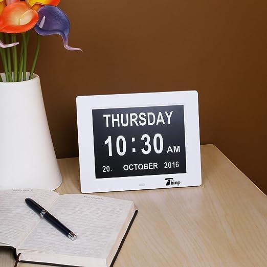 Thinp Marco Digital de Fotos Calendario Digital Reloj Despertador ...