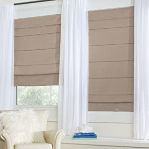 BrylaneHome Cordless Large Fold Woven Blackout Roman Shade Window Shade - 35I W 64I L, Taupe