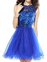 Udresses Womens Sequined Homecoming Dress Short A-line Lace Prom Dresses HC85