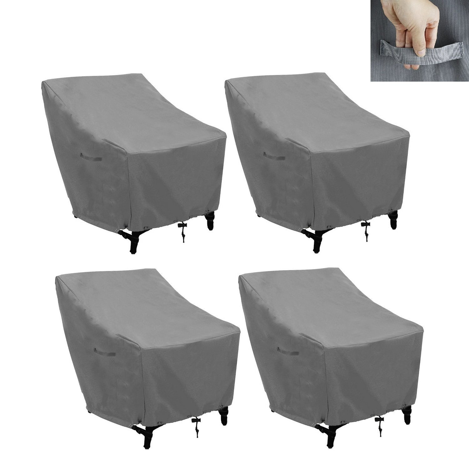 Patio Chairs Cover Outdoor Chairs Covers Stackable Chairs Cover Waterproof Premium Outdoor Furniture Cover Durable and Water Resistant Fabric(L31 x D39 x H31 inch) (Gray 4Pack)