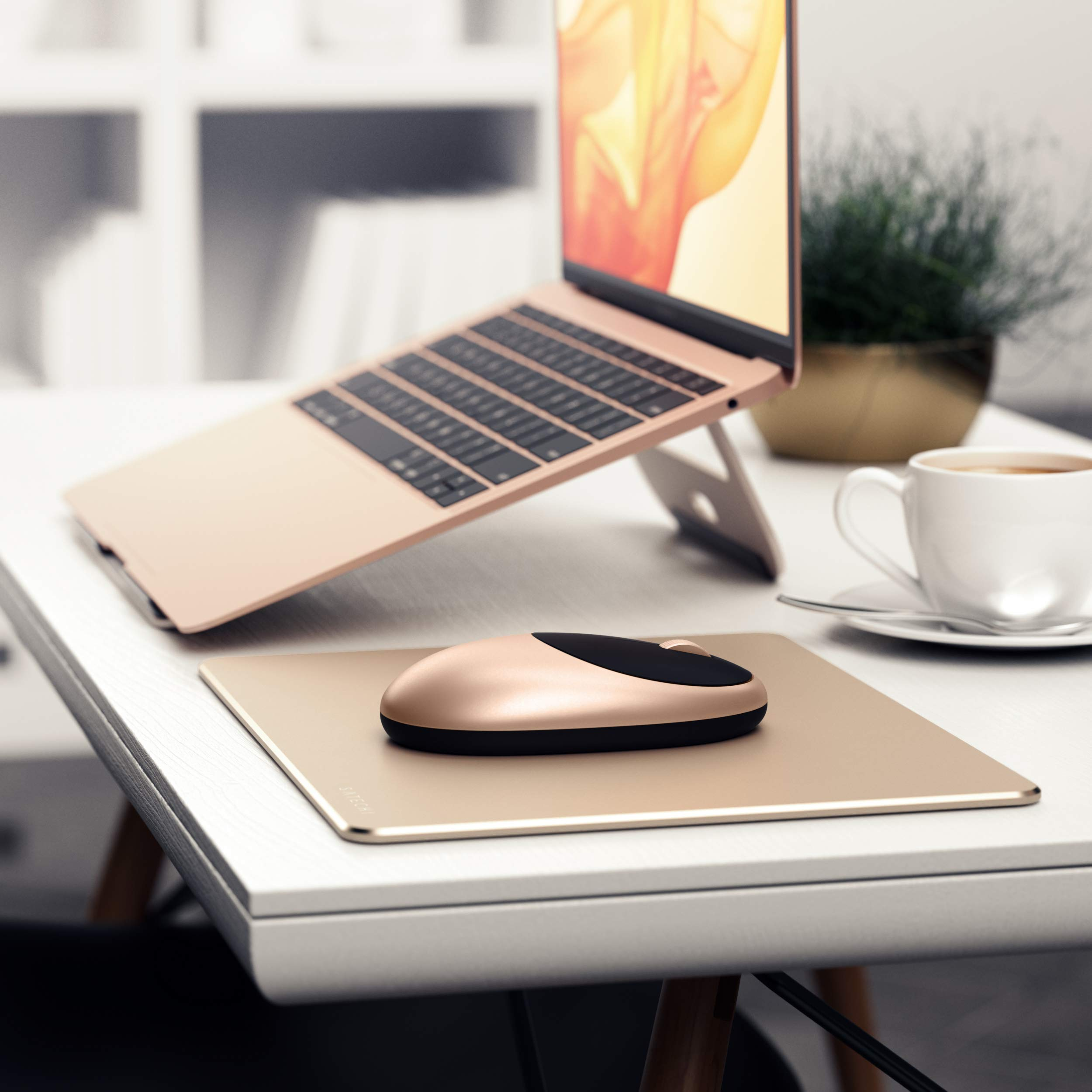 Compatible with Computers Brown Satechi Eco-Leather Mouse Pad with Non-Slip Rubber Base Laptops and Desktops