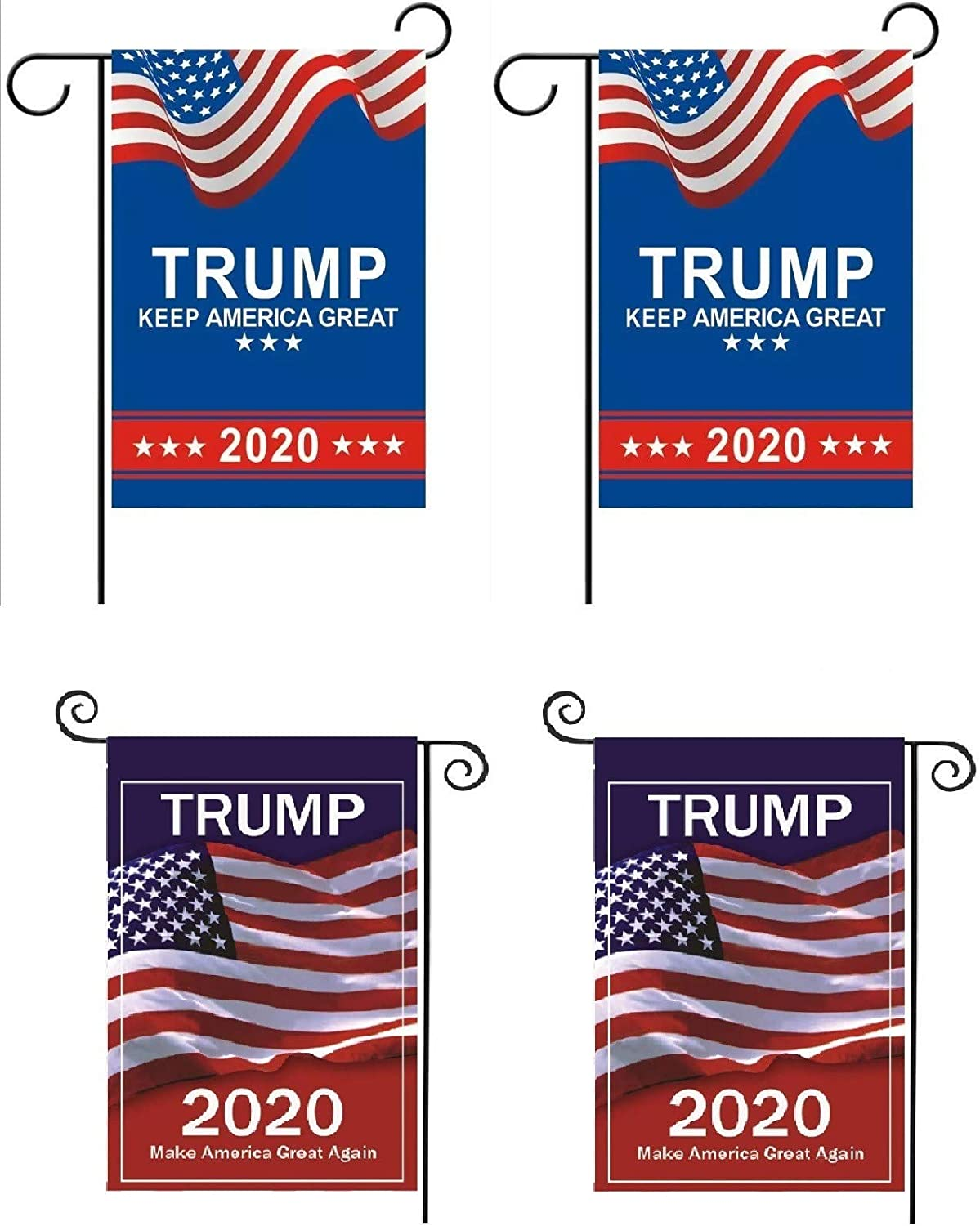 4 Pack MAGA KAG Trump 2020 Garden Flags; Double Sided Premium Fabric, US Presidential Election Patriotic Outdoor Decoration Multiple Banners for Yard Lawn, 12