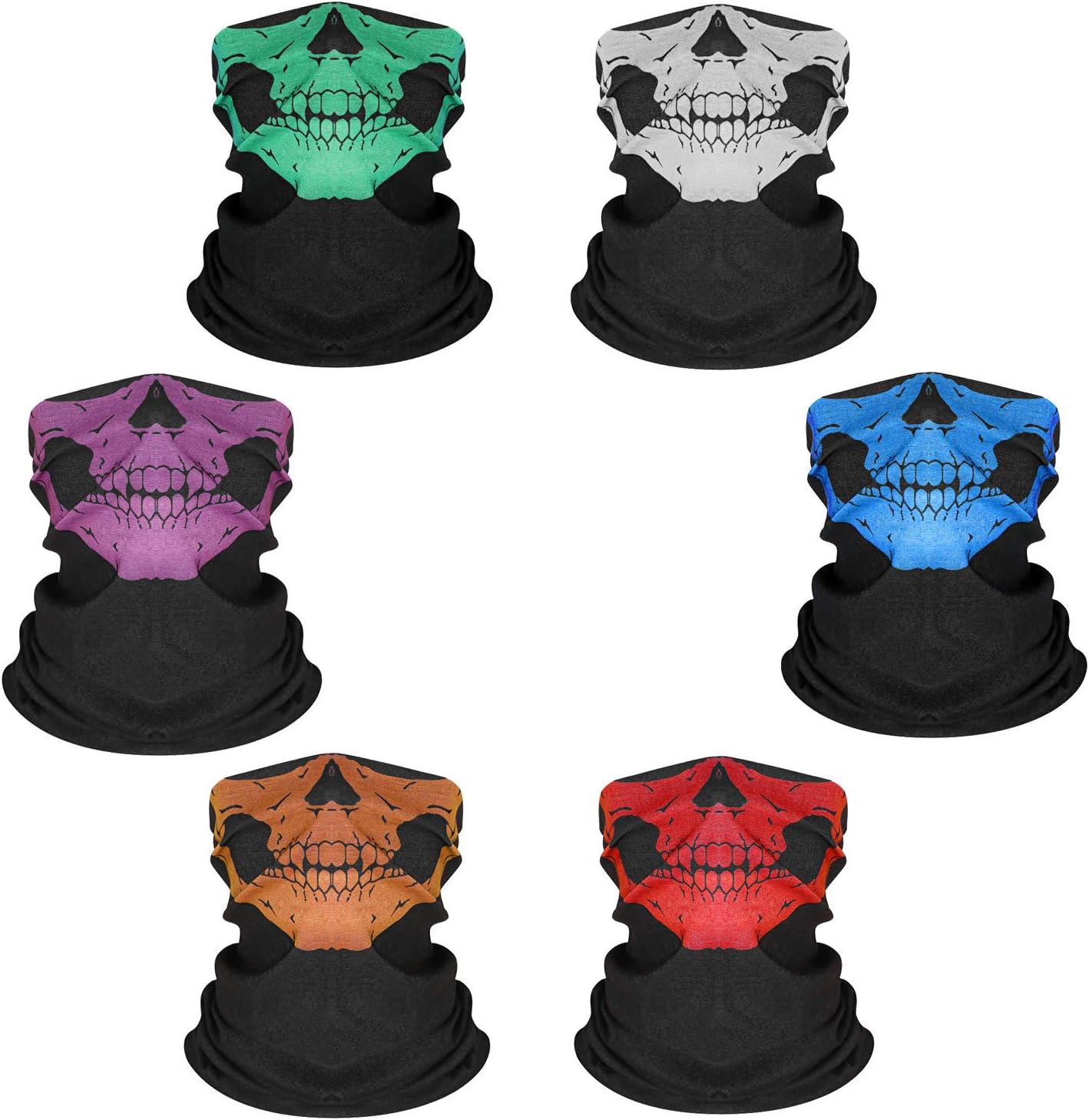 Comius Sharp 6 Stück Motorrad Totenkopf Masken Multifunktionstuch Sturmmaske Schädel Maske Halloween Gesichtsmaske Bandana Schlauch Maske Skull Halstuch Kopftuch Für Damen Herren Spielzeug