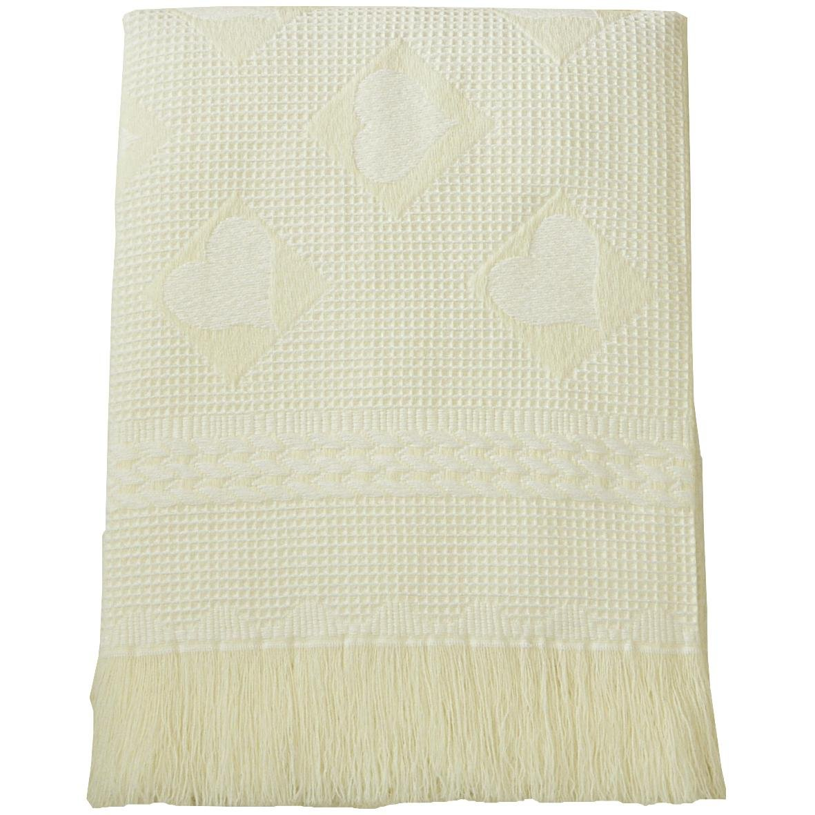 BabyPrem Baby Large Soft White Acrylic Hearts Shawl Blanket 48 x 48 CREAM by BabyPrem   B005OJF8YK