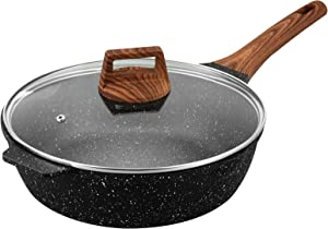 ESLITE LIFE Deep Frying Pan with Lid Nonstick Saute Pan with Granite Stone Coating, 9.5 Inch (3 Quart)