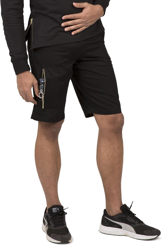 Vibes Mens Twill Cargo Shorts Zipper Utility Pocket 11 Inseam