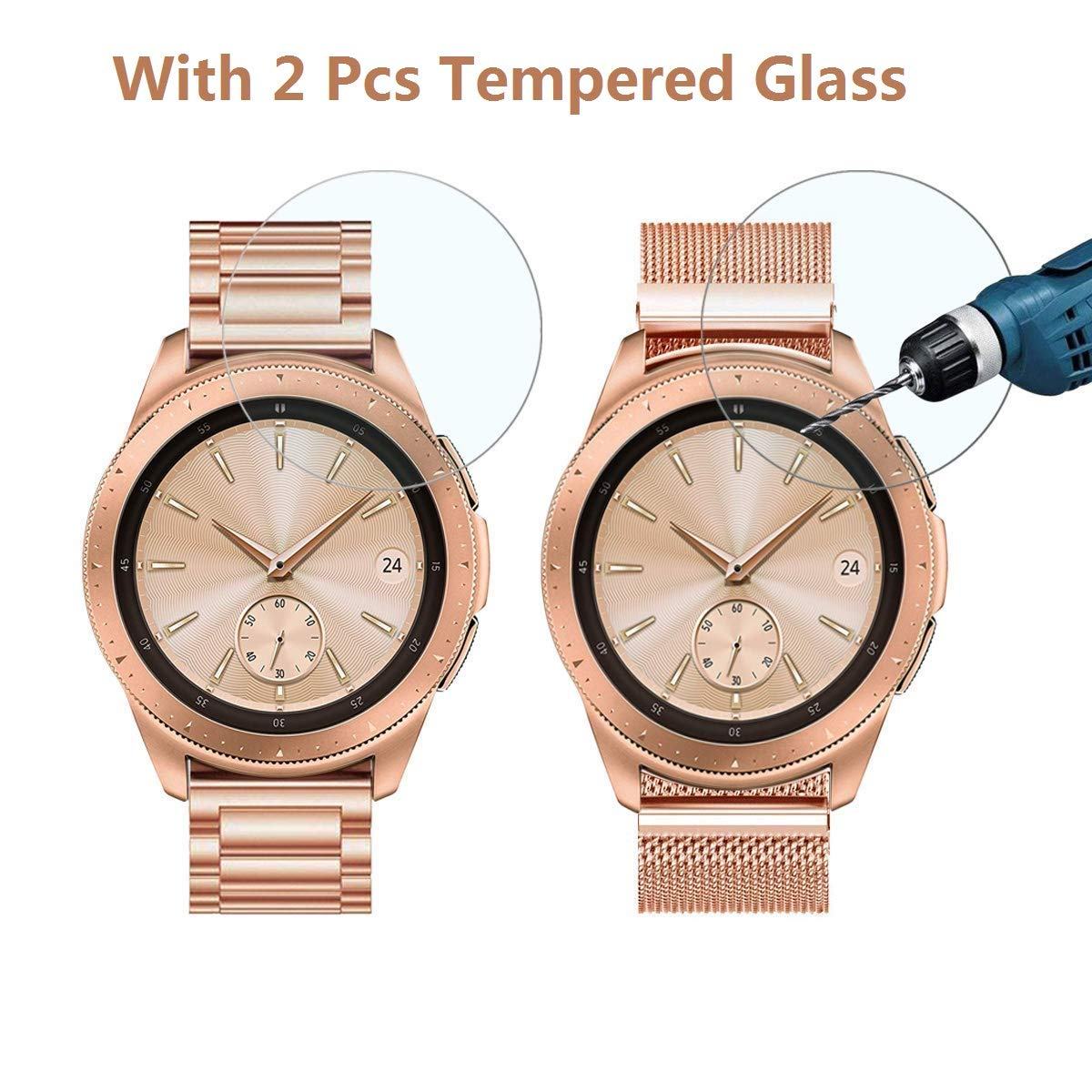 CAGOS Compatible Galaxy Watch 42mm/Galaxy Watch Active Bands Sets, 20mm 2 Pack Stainless Steel Band+Milanese Loop Mesh Bracelet for Samsung Galaxy Watch 42mm /Ticwatch E Smartwatch - Rose Gold by CAGOS (Image #2)