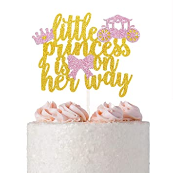 Little Princess Is On Her Way Cake Topper Baby Shower Gender Reveal Birthday Party
