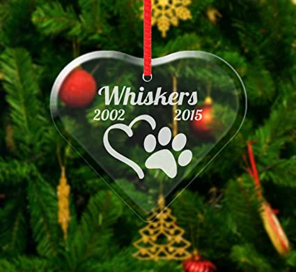 Personalized Pet Heart Christmas Ornament Paw Print Rememberance In Memory  Loss of Dog Cat Pet Keepsake - Amazon.com: Personalized Pet Heart Christmas Ornament Paw Print