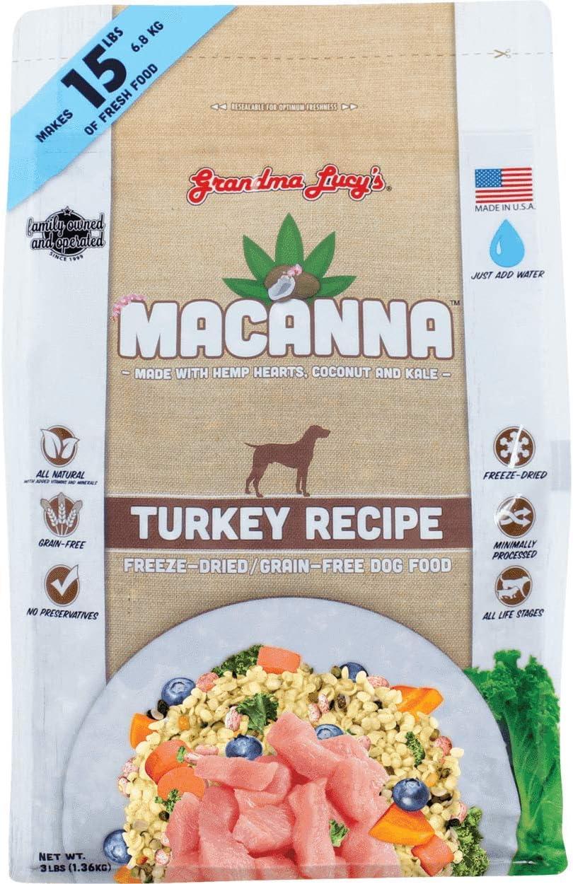 Grandma Lucy's MACANNA Turkey Freeze Dried Grain Free Dog Food. 3 LB. Bag with Hemp Hearts, Coconut and Kale.