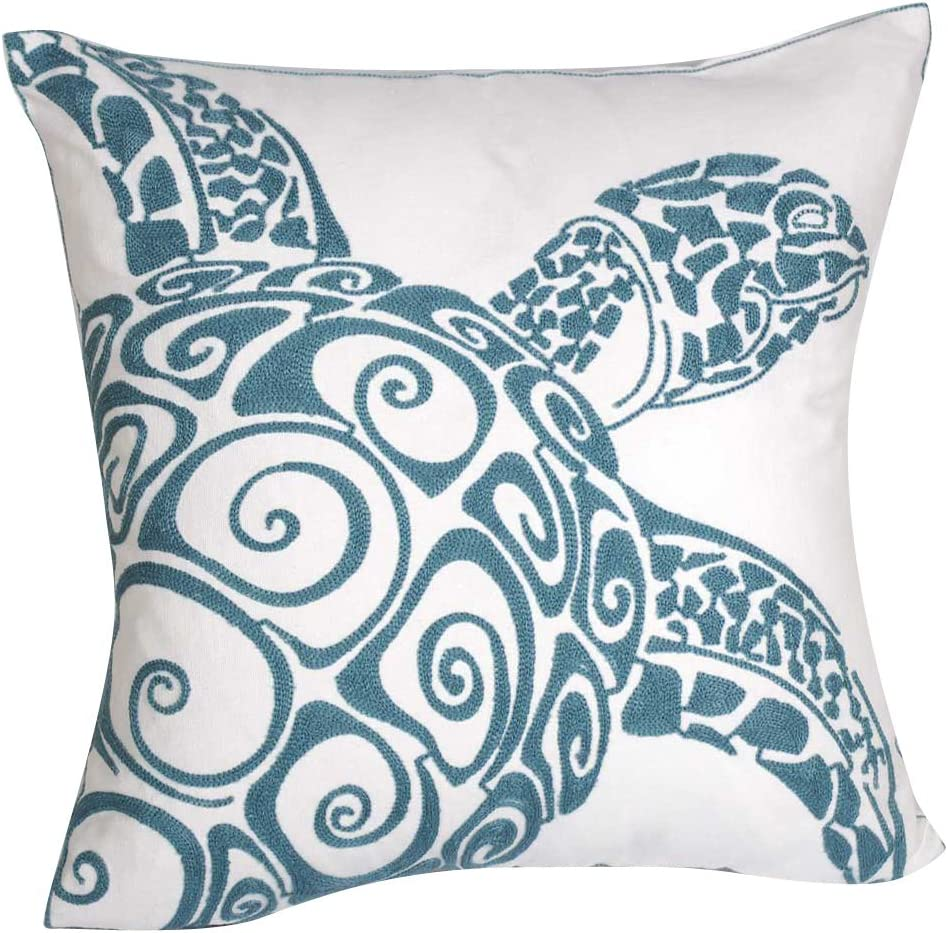 Turtle Embroidered Cute Nautical Animal Pillow Covers