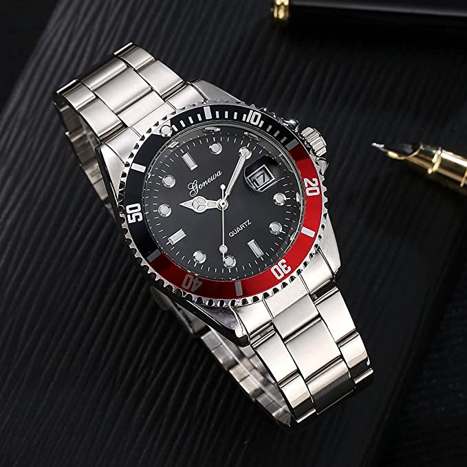 Amazon.com: Mens Quartz Watches COOKI Clearance Analog Cheap Watches on Sale Stainless Steel Watches for Men-A02 (Red): Watches