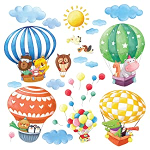 Decowall DA-1406B Animal Hot Air Balloons Kids Wall Decals Wall Stickers Peel and Stick Removable Wall Stickers for Kids Nursery Bedroom Living Room