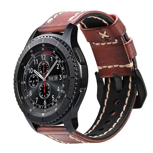 Fintie Correa para Samsung Galaxy Watch 46mm / Gear S3 Frontier / Gear S3 Classic / Huawei Watch GT - 22mm Pulsera de Repuesto de Cuero Auténtico ...