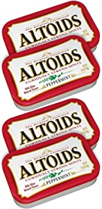 ALTOIDS Curiously Strong Peppermint Mints, Pocket-Sized Tins, 1.76 oz (4-Pack)