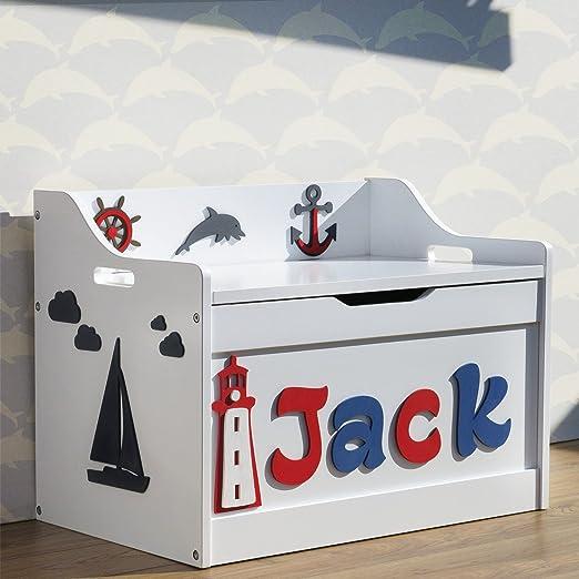 Caja para almacenamiento de juguetes personalizada con diseño marino, hecha de madera, con tapa de seguridad, nombre y figuras pintadas a mano: Amazon.es: Hogar