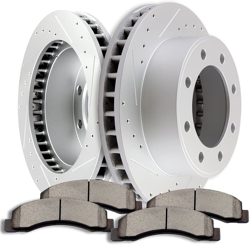 Brake Kits,SCITOO 2pcs Slotted Drilled Brake Discs Rotors and 4pcs Ceramic Disc Brake Pads Brakes Kit fit 2000-2005 Ford Excursion,2000-2004 Ford F-250 Super Duty,2000-2004 Ford F-350 Super Duty,Front