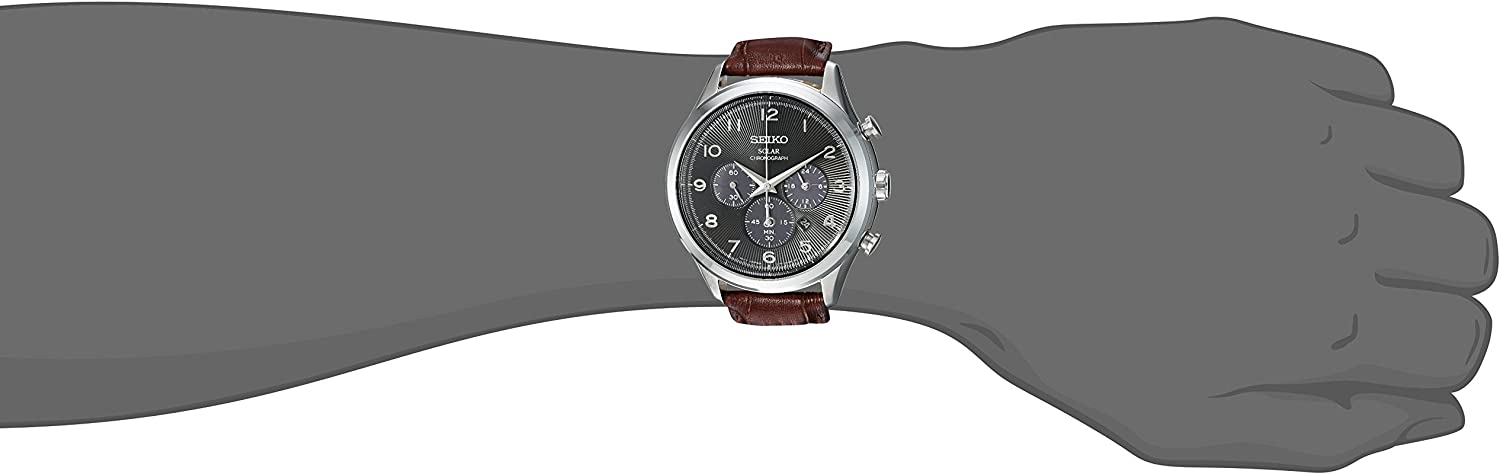 Seiko Men s Solar Chronograph Stainless Steel Japanese-Quartz Watch with Leather Calfskin Strap, Brown, 21 Model SSC565