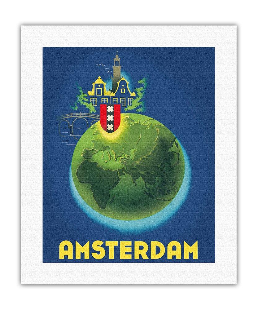 eddd96b4dc4 Amazon.com  Pacifica Island Art Amsterdam Holland - Netherlands - Vintage  World Travel Poster by Koen Van Os c.1948 - Fine Art Rolled Canvas Print -  16in x ...