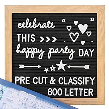 Felt Letter Board with Letters - Pre Cut & Sort 600 Letters +Bonus Cursive Words, 10X10 Letter Board, Letterboard, Message Board, Letter Boards with Stand +Sorting Tray +Wall Mount +Gift Box