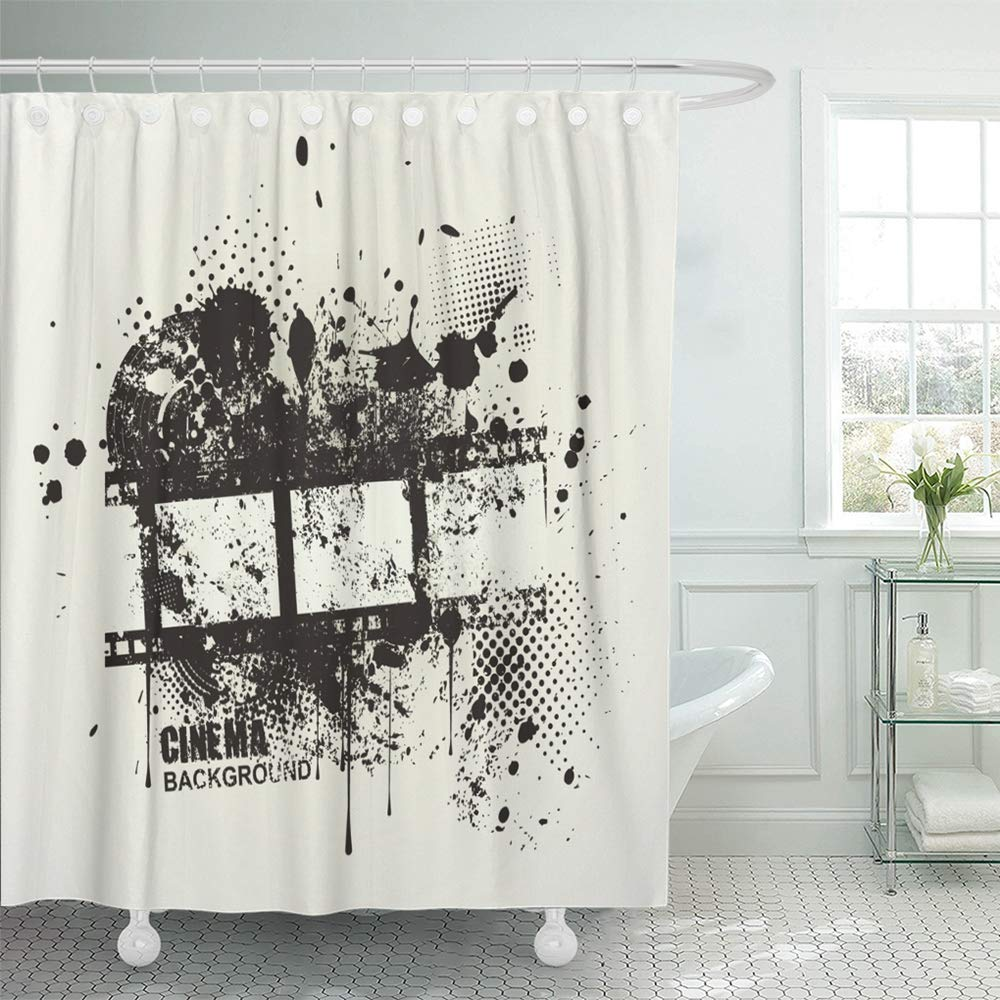 Emvency Shower Curtain Waterproof Polyester Bathroom 72 x 78 inches Film Grunge Cinema with Inky Dribble Strip and Copy Space Graffiti Abstract Movie Set with Hooks Decorative Collection