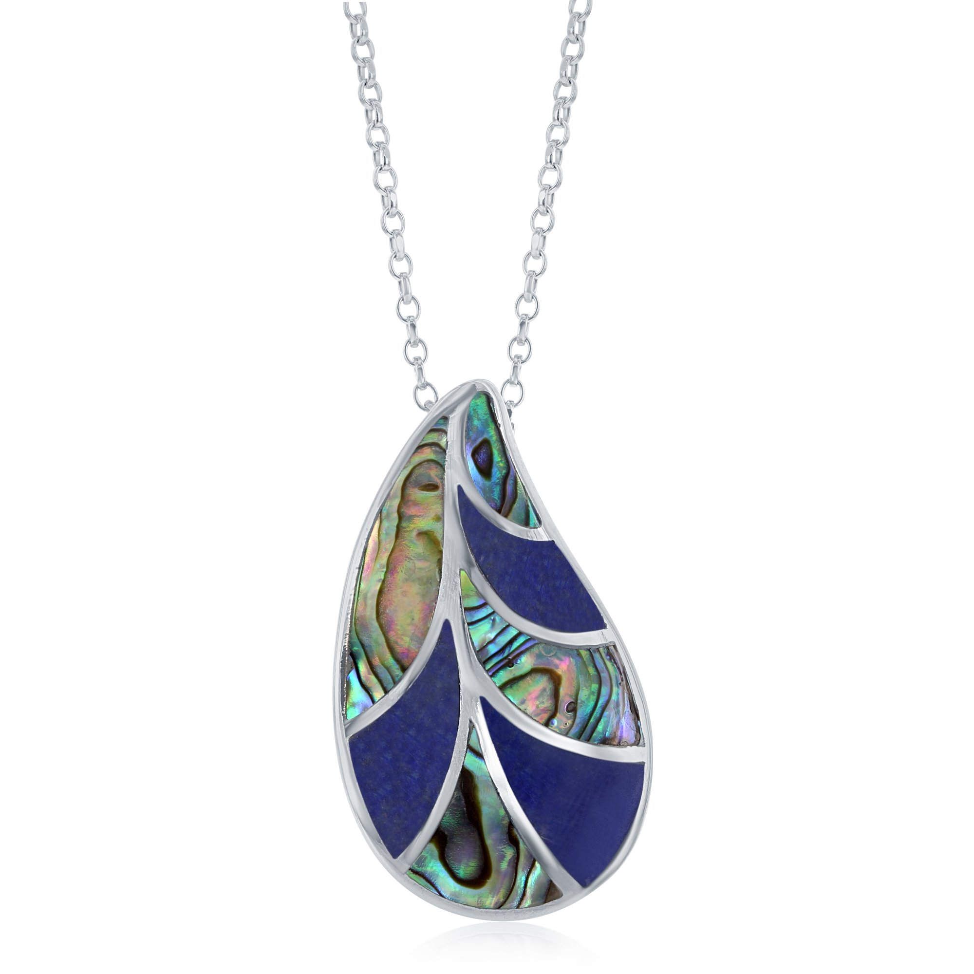 Sterling Silver Natural Abalone and Lapis Stone Leaf 18'' Pendant Necklace