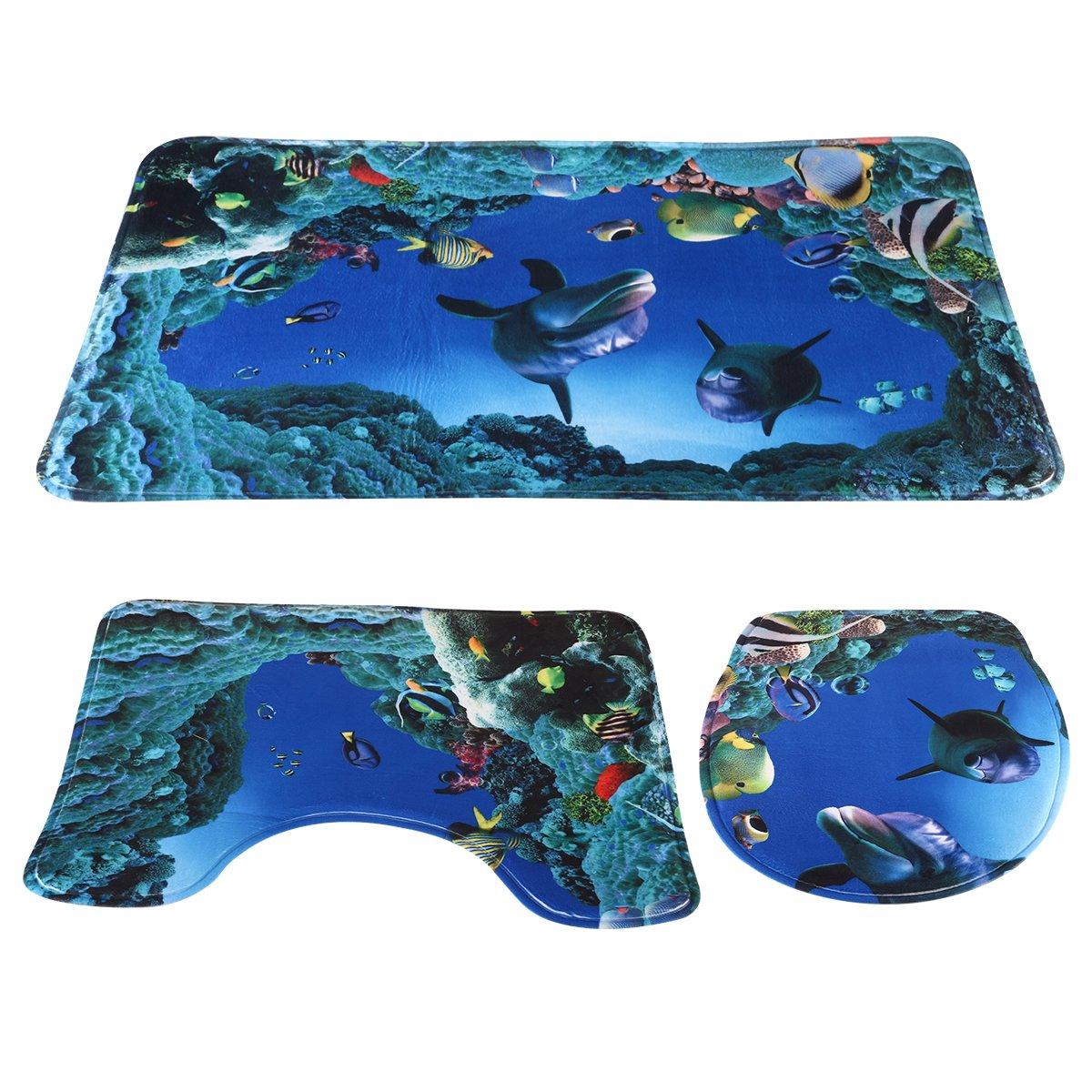 NUOLUX 3pcs/set Ocean Style Underwater World Dolphin Carpe Toilet Mat