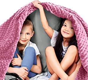 """Quility Premium Kids Weighted Blanket & Removable Cover   7 lbs   41""""x60""""   for a Child Between 70-90 lbs   Single Size Bed   Premium Glass Beads   Cotton/Minky   Grey/Pink"""