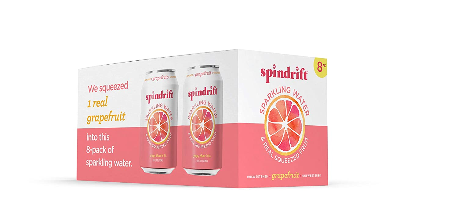 Spindrift Grapefruit Sparkling Water, 12 Fl. Oz. Cans (Pack of 8)