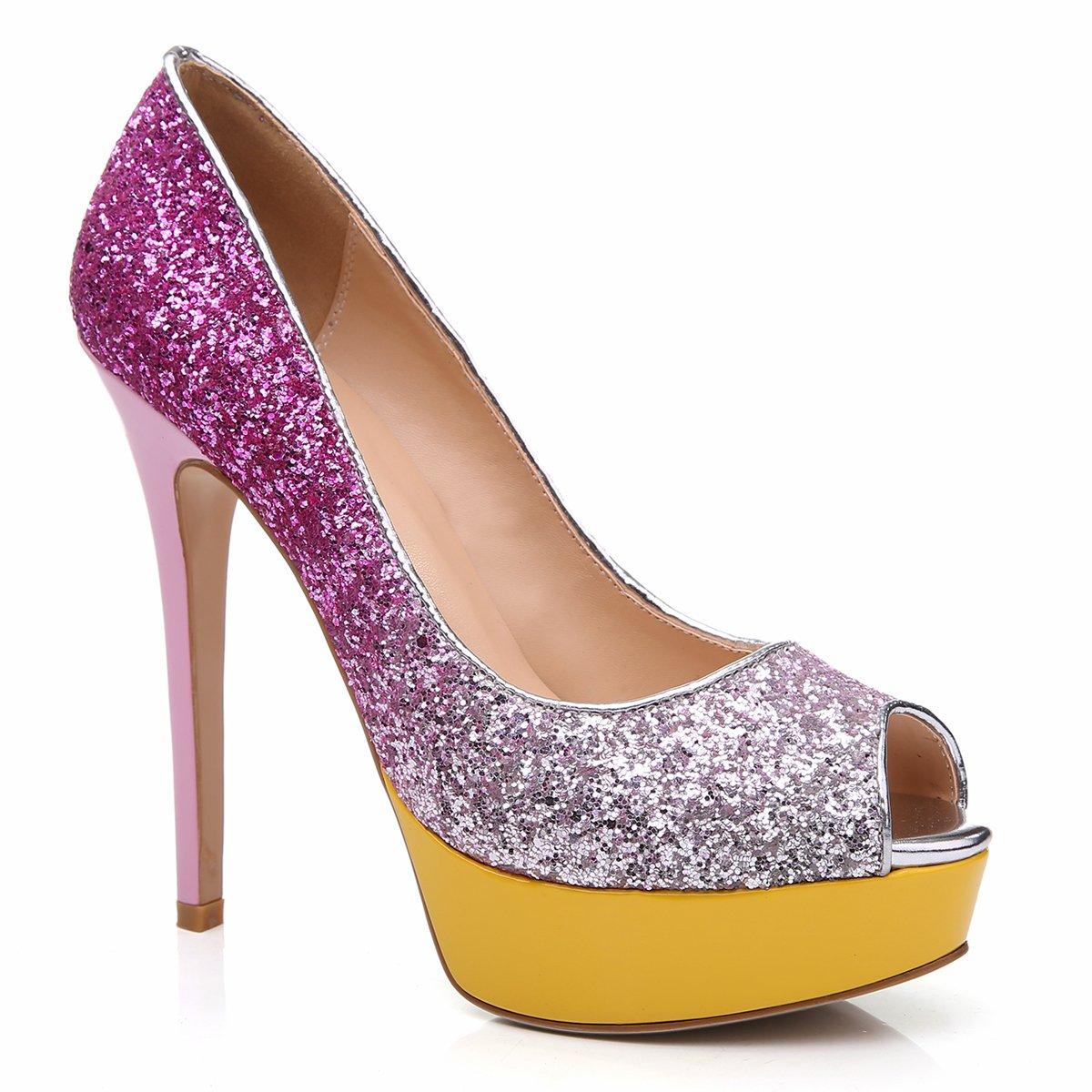 Onlymaker Peep Damens's Extreme High Fashion Peep Onlymaker Toe Pumps Handmade For Wedding Party Dress Stiletto Slip On Schuhes glitzer rosa f96c5d