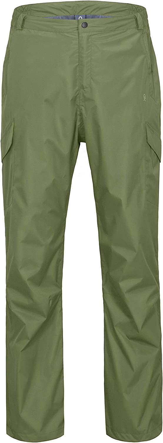 Little Donkey Andy Men's Lightweight Waterproof Breathable Rain Pants Golf Hiking TravelOlive Size M