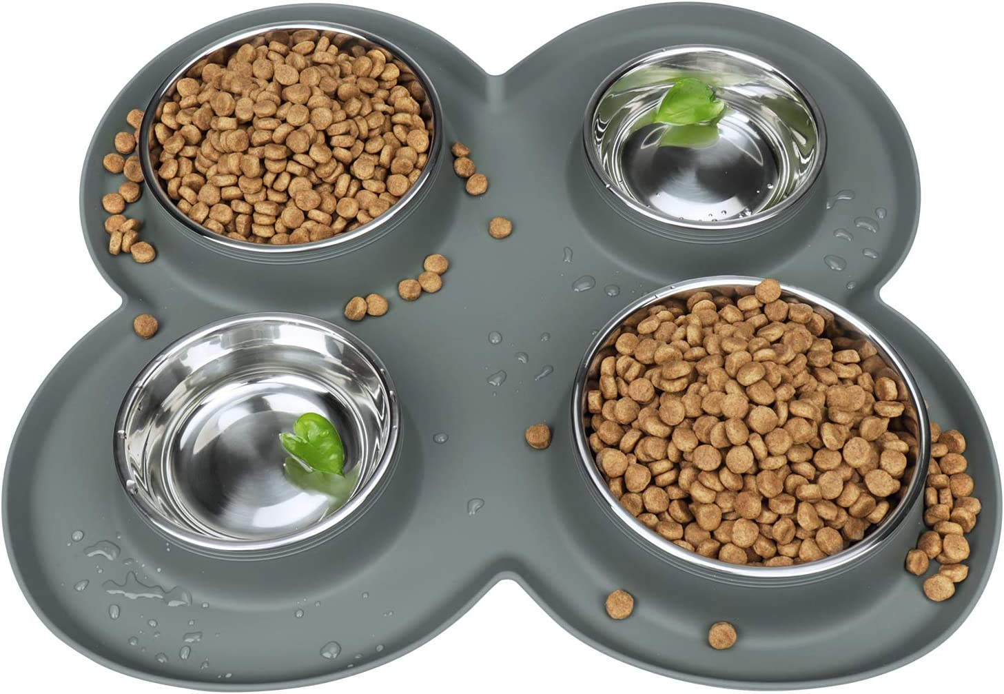 WINSEE 4 Litter Dogs Cats Bowls Feeder Stainless Steel with Safety Silicone Mat Set for Small Medium Dogs, No Spill Non Skid, Food & Water Bowls for Multiple Pets Grey, 80 Oz