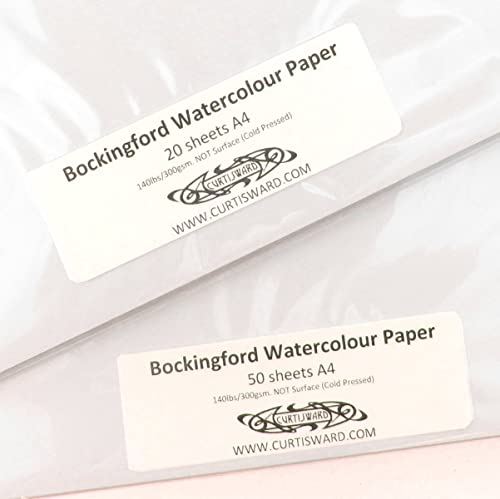 Bockingford Artists Cold Pressed (NOT Surface) WaterColour Paper A4 Pack 20 Sheets 300g Curtisward Pack