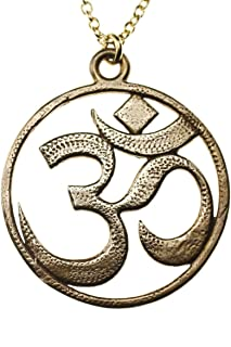 "product image for Om Peace Bronze Pendant Necklace on 18"" Rolo Chain"