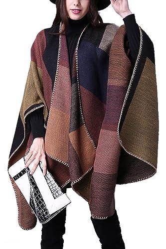 Invierno Reversible de las mujeres de gran tamaño manta Poncho abrigo chal bufanda