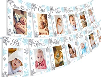 Winter Onederland First birthday banner Monthly Photo Banner Winter Onederland Woodland Birthday Snowflakes Boy party PRINTABLE Digital 0022