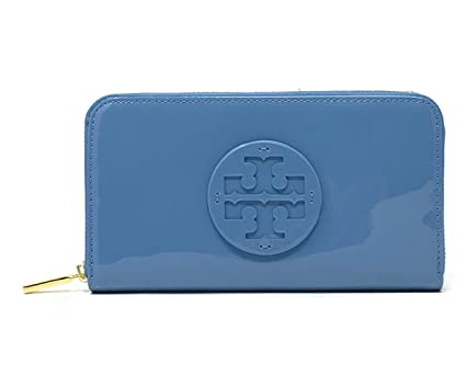 ebdb58417 Image Unavailable. Image not available for. Color  Tory Burch Stacked Patent  Zip Around Continental Wallet MONTEGO BLUE