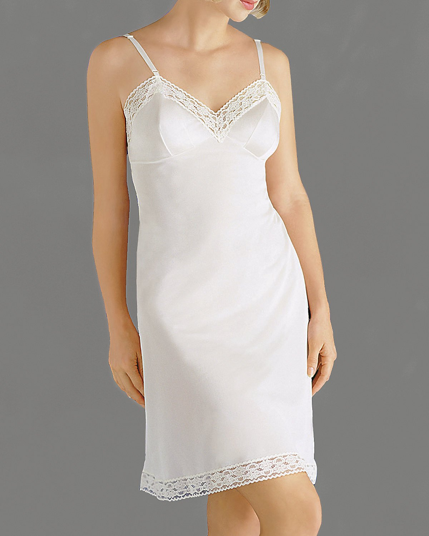 Vanity Flair レディース 薔薇柄レーススリップ #10103 B0002LIO2I 40-26 Length ホワイト ホワイト 40-26 Length