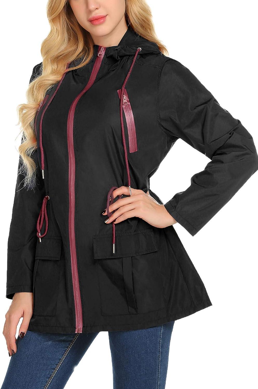 Avoogue Rain Coats for Women Packable Outdoor Hooded Rain Jacket S-XXL