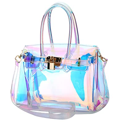 27ea1a8291 Womens Laser Hologram Shining Bag Transparent Bag Retro Hologram Clear Bag  Shoulder Crossbody Purse  Handbags  Amazon.com