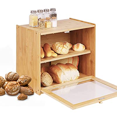 Buy Bamboo Large Bread Box For Kitchen Countertop 2 Layer Bread Storage Container With Window Farmhouse Kitchen Decor For Kitchen Counter Wood Storage Box Bread Holder To Keep Baking Fresh No Assembly Online In Italy B0932m9kyp