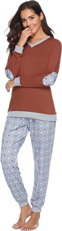 Hawiton Donna Pigiama Lungo in Cotone Set Tuta Pigiama Due Pezzi Estivi con Pantaloni Lunghi Completino per Casa Hotel
