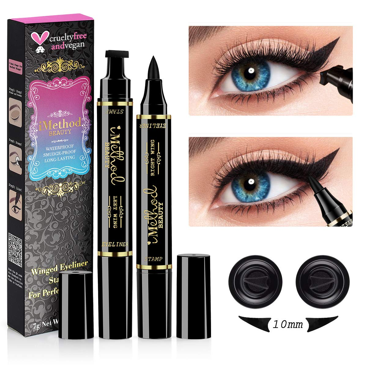 3187ae70a5a iMethod Wing Eyeliner Stamp - 2 Pens Left & Right Dual Ended Liquid Winged  Eye Liner