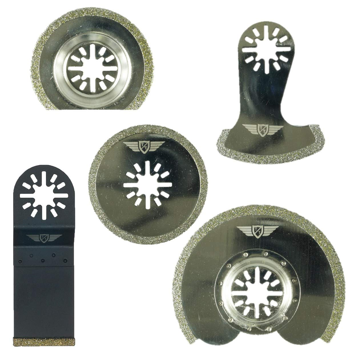 Makita Milwaukee Einhell Parkside Ryobi multiherramienta Worx WorkZone Multi herramienta accesorios No-StarLock 5 x TopsTools UNKD5 diamante lechada cuchillas para Bosch Fein