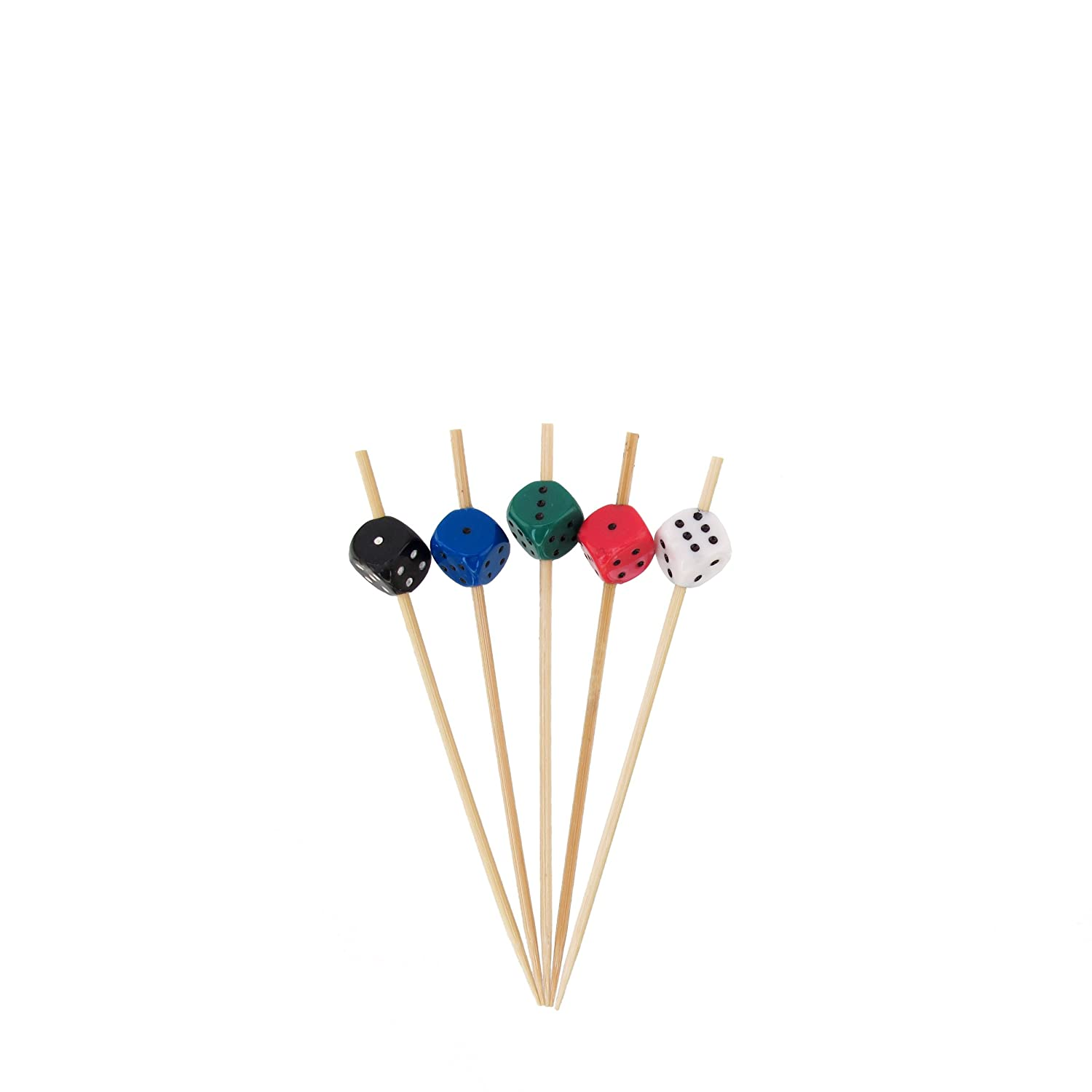 """BambooMN 3.9"""" Decorative Dice Party End Bamboo Cocktail Fruit Sandwich Picks Skewers for Catered Events, Holiday's, Restaurants or Buffets Party Supplies, Assortment, 100 Pieces"""