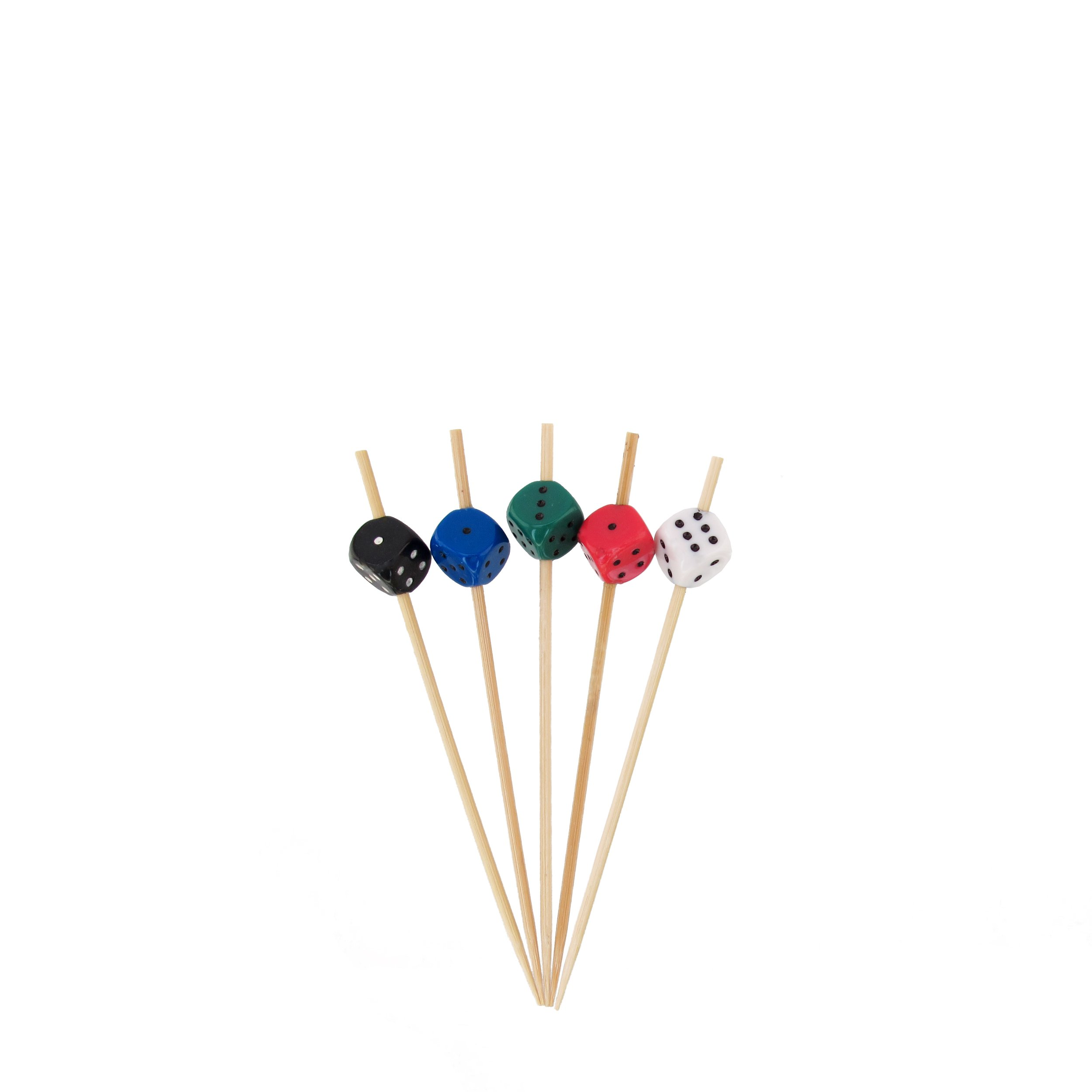BambooMN 3.9'' Decorative Dice Party End Bamboo Cocktail Fruit Sandwich Picks Skewers for Catered Events, Holiday's, Restaurants or Buffets Party Supplies, Assortment, 100 Pieces