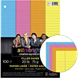 """Astrobrights 25910-01 Filler Paper, 20 lb., Wide Ruling, Assorted Colors, 8"""" Height, 10.5"""" Width, 0.44"""" Length (Pack of 100)"""